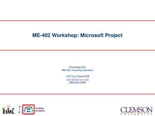 ME-402 Workshop: Microsoft Project
