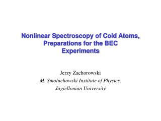 Nonlinear Spectroscopy of Cold Atoms, Preparations for the BEC Experiments