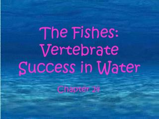 The Fishes: Vertebrate Success in Water