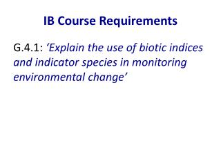 IB Course Requirements