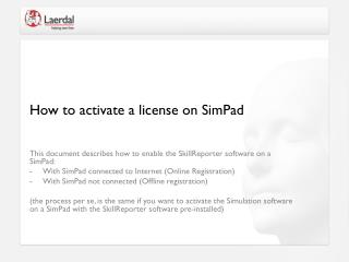 How to activate a license on SimPad