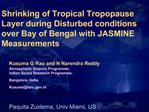 Shrinking of Tropical Tropopause Layer during Disturbed conditions over Bay of Bengal with JASMINE Measurements