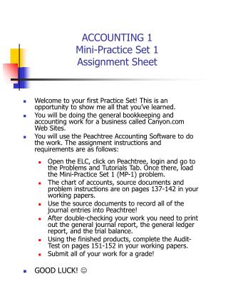 ACCOUNTING 1 Mini-Practice Set 1  Assignment Sheet