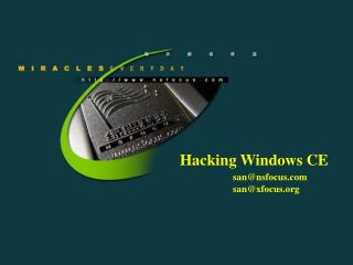 Hacking Windows CE