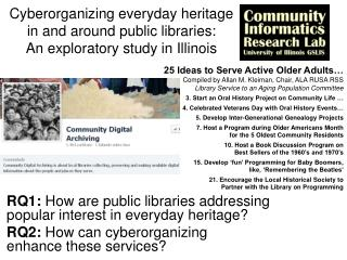 RQ1:  How are public libraries addressing  popular  interest in everyday heritage?