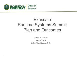 Exascale Runtime Systems Summit Plan and Outcomes