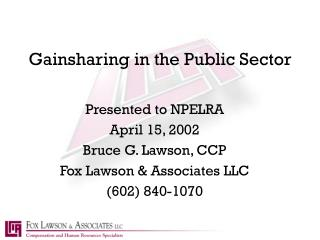 Gainsharing in the Public Sector