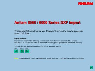 Anilam 5000 / 6000 Series DXF import