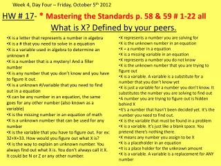 HW # 17 -  *  Mastering  the Standards p. 58 & 59 # 1-22 all