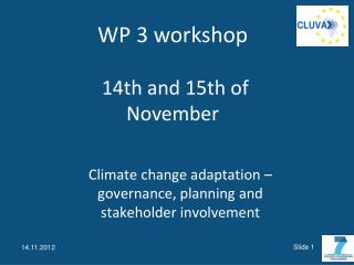 Climate change  adaptation –  governance ,  planning  and  stakeholder involvement