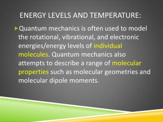 Energy Levels and Temperature: