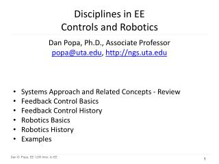 Disciplines in EE Controls and Robotics
