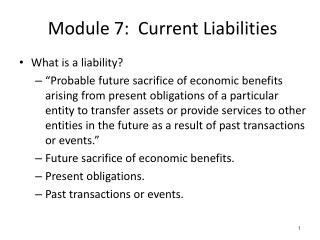 Module 7:  Current Liabilities