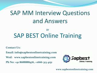 SAP MM Online Training India Hyderabad | SAP MM Project Supp
