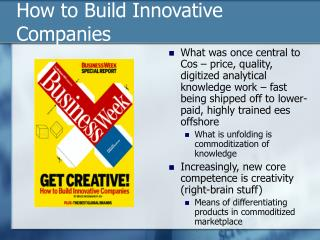 How to Build Innovative Companies