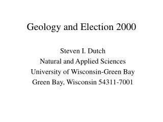 Geology and Election 2000