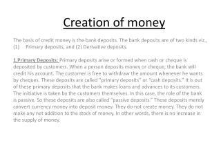 Creation of money