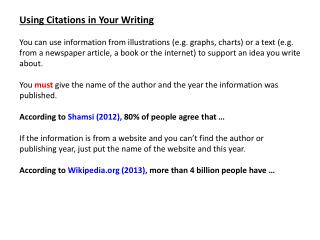 Using Citations in Your Writing