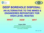 DEEP BOREHOLE DISPOSAL:  AN ALTERNATIVE TO THE MINED  ENGINEERED REPOSITORY FOR HIGH-LEVEL WASTES