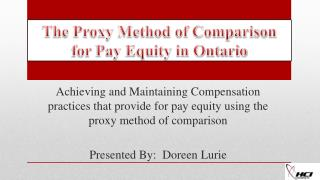 The Proxy Method of Comparison  for  Pay Equity in Ontario