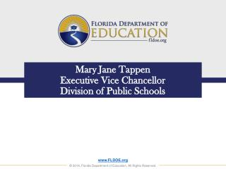 Mary Jane Tappen Executive Vice Chancellor Division of Public Schools