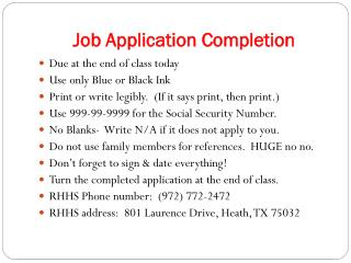 Job Application Completion