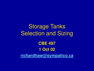 Storage Tanks  Selection and Sizing