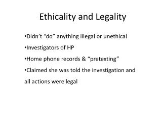 Ethicality and Legality