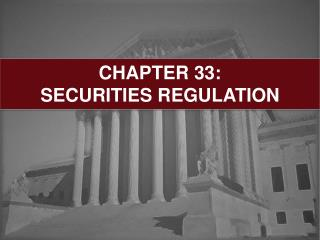 CHAPTER 33:  SECURITIES REGULATION