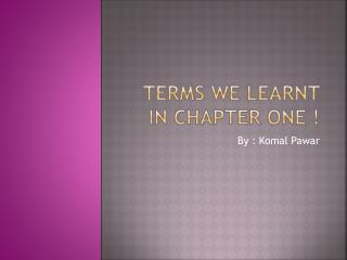 Terms we learnt in chapter one !