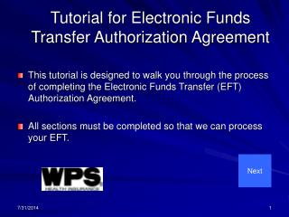 Tutorial for Electronic Funds Transfer Authorization Agreement