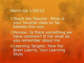 Warm-Up 1/20/12