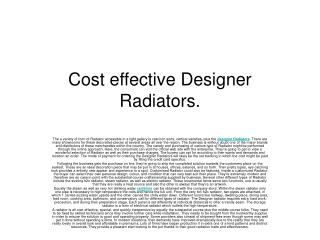 Radiators, Designer Radiators