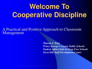 Welcome To Cooperative Discipline