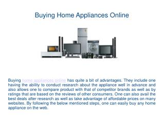 Buying Home Appliances Online