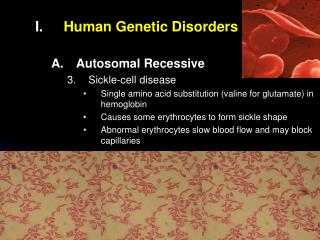 Human Genetic Disorders Autosomal Recessive Sickle-cell disease