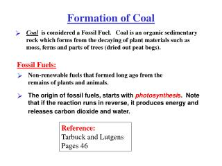 Formation of Coal