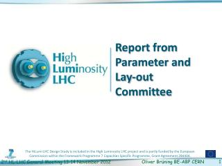 Report  from  Parameter and Lay-out Committee