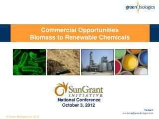 Commercial Opportunities  Biomass to Renewable Chemicals