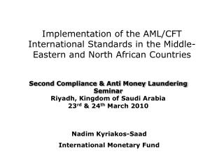 Nadim  Kyriakos-Saad International  Monetary Fund