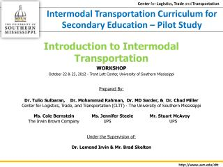 Intermodal Transportation Curriculum for Secondary Education – Pilot Study