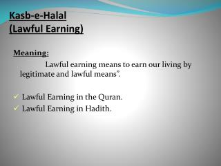 Kasb-e-Halal (Lawful Earning)
