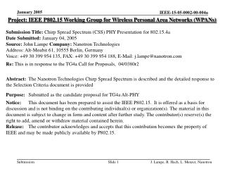 Project: IEEE P802.15 Working Group for Wireless Personal Area Networks (WPANs) Submission Title:  Chirp Spread Spectrum