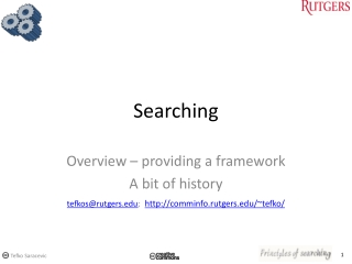 Effective Web Searching  Specialty Search Engines, Databases  People Finding Tools
