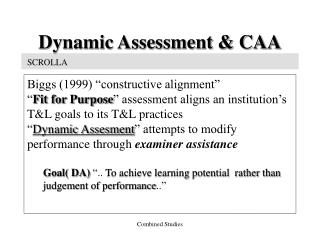 Dynamic Assessment & CAA