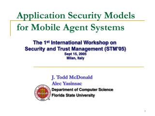 Application Security Models for Mobile Agent Systems