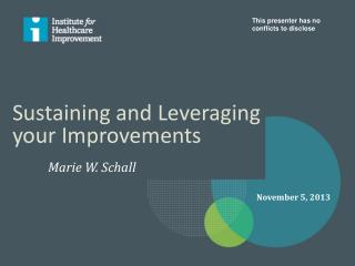 Sustaining and Leveraging your Improvements