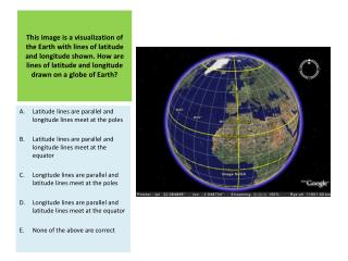Latitude lines are parallel and longitude lines meet at the poles