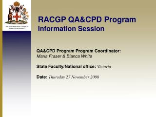 RACGP QA&CPD Program Information Session
