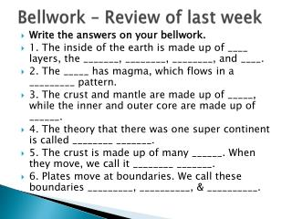 Bellwork  – Review of last week